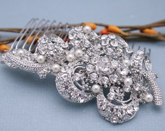 bridal comb hairpiece wedding hair comb boho wedding comb pearls Wedding hair piece Vintage style Bridal hair comb Crystal hair accessories