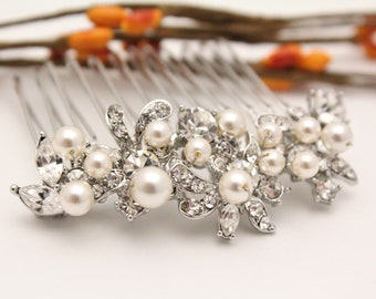 Boho Bridal hair comb Pearl hair pin Bohemian Wedding hair comb Silver Bridal hair accessories Crystal hair piece Wedding comb hairpiece