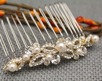 wedding hair comb gold Wedding hair jewelry Pearl hair comb Wedding comb Vintage style Bridal hair comb Silver,Rose gold Bridal hair clips