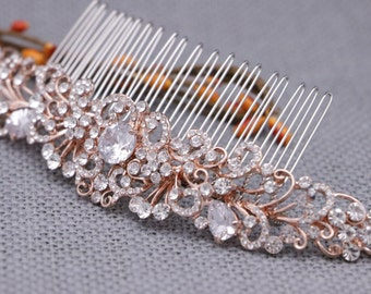 bridal hair comb vintage style bridal comb rose gold Wedding head comb Bridal hair accessories Rhinestone hair comb Wedding comb Boho hair