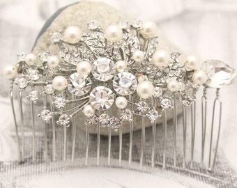 wedding hair comb silver Wedding hair piece Pearl hair comb Wedding comb Vintage style Bridal hair comb Rhinestone hair pins Bridal comb pin