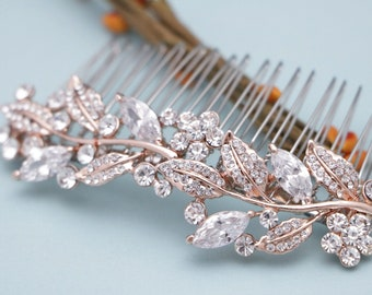 Rose gold Bridal headpiece Crystal hair pin Rhinestone hair comb Rose gold hair clip Wedding hair comb Bridal hair accessories Rose gold