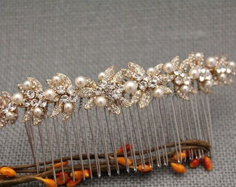 Wedding hair comb,Gold hair comb,Large Bridal hair comb,Pearl hair comb,Wedding hair piece,Bridal hair clip,Bohemian hair comb,Wedding comb