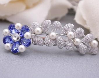 bridal hair comb blue wedding hair barrette Pearl hair comb Vintage style Wedding hair comb Crystal hair clip Wedding comb Boho Bridal comb
