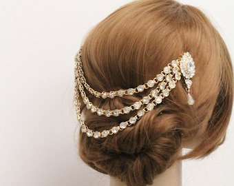 Wedding hair chain gold wedding hair vine wedding hair band wedding headband wedding hair jewelry wedding hair accessories bridal hair chain