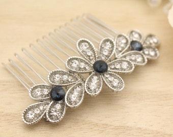 wedding hair comb blue wedding headpiece boho wedding hair accessories leaf bridal hair comb silver bridal comb hairpiece Wedding hair pins