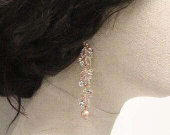 Bridal earrings Rose gold Earrings,Wedding earrings for brides,Chandelier earrings,Rose blush earrings,Bridal jewelry Gold earrings,Prom