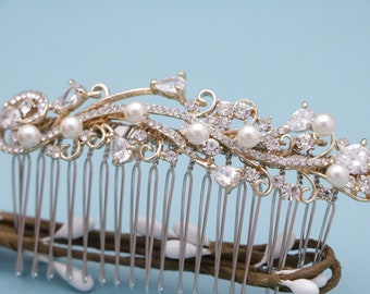wedding hair comb pearl hair jewelry Silver Wedding comb Crystal Bridal hair comb Rose gold Bridal comb Vintage style hair piece Rhinestone