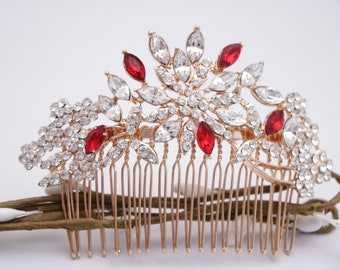Bridal hair comb Red Wedding hair accessories Crystal hair comb Wedding hair jewelry Blue Wedding hair comb Navy Bridal hair piece Crystal