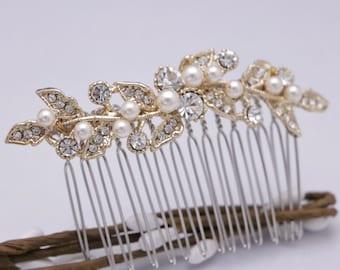 bridal hair comb gold pearl hair pins Wedding hair comb Vintage style Wedding hair piece Bridal hair clip Bridesmaid hair comb Prom hair pin