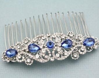 Wedding hair comb blue,Bridal hair accessories silver,Wedding comb blue,Bridal hair comb blue,Prom hair comb,Boho hair comb,bridesmaid hair