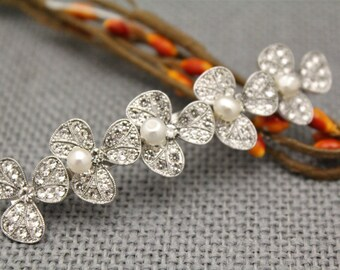 wedding hair comb silver Wedding hair barrette Swarovski pearl Bridal hair comb Crystal hair piece Wedding hair jewelry Bridal hair clip pin