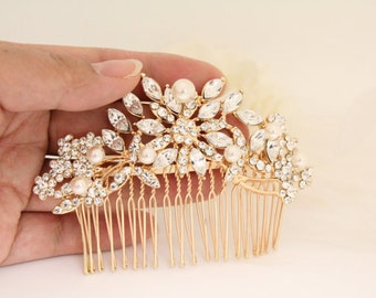 Bridal hair comb gold,Wedding hair accessories,Wedding head piece Gold,Wedding hair comb,Wedding decorative combs,Bridal hair piece,Wedding
