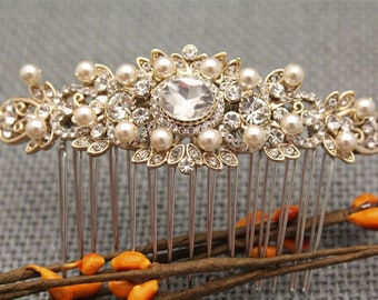 Bridal hair piece Crystal Bridal hair clip Comb Bridal hair comb Pearl hair pins Bohemian Wedding hair comb Boho Wedding halo Prom hair comb