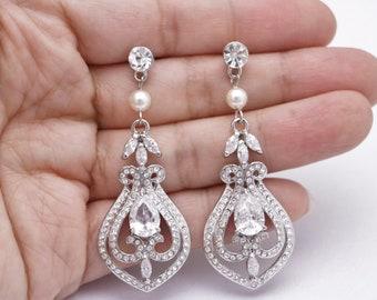 wedding stud earrings for brides wedding earrings chandelier Swarovski pearl earrings Bridal earrings Crystal earrings Wedding jewelry Prom