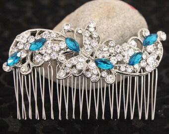 Something Blue Hair Comb,Royal Blue Bridal Comb,Blue Wedding Hair Accessory,Blue Hair Piece,Bridesmaid Comb,Blue Hair Pin,Boho hair comb