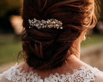 wedding hair comb silver wedding comb for veil wedding hair accessories rose gold Bridal hair comb Crystal hair piece Wedding hair pins Boho