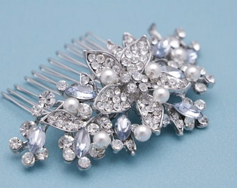 bridal hairpiece crystal and rhinestone hair comb Vintage style Wedding hair comb Blue Bridal hair comb navy Wedding hair jewelry Boho Prom