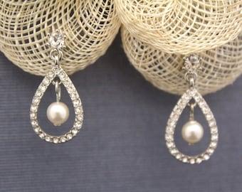 Bridal Rhinestone Earrings Bridal Pearl Earrings Bridesmaid Gift Earrings Crystal Earrings Small Drop Earrings Wedding Gift Jewelry