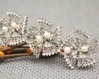 Bridal Crystal Barrette,Large Bridal Hair Clip,Rhinestone Barrette,Wedding Hair Accessory,Crystal Barrettes,Statement Bride Hairpiece