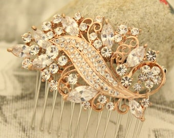 wedding hair comb rose gold  hair piece wedding comb gold bridal hair comb silver Bridal hair piece Wedding hair jewelry Bridal comb boho