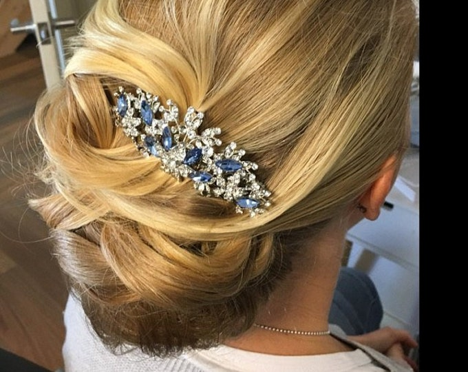 Featured listing image: Wedding hair accessories blue Bridal hair comb floral Wedding headpiece for bride Wedding hair comb Rhinestone hair piece wedding comb Prom