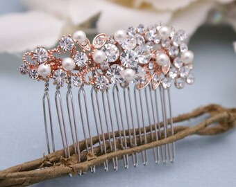 wedding hair clip for bride Wedding hair comb Small Bridal hair comb Pearl hair pins Wedding comb Vintage style Bridal comb Prom hair comb