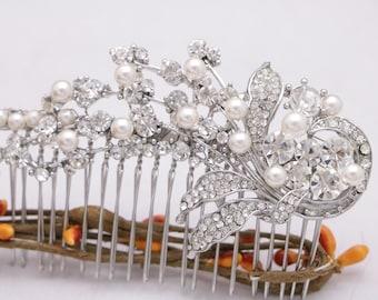 Wedding comb Vintage style Wedding hair accessories Floral Wedding hair comb Crystal hair piece Wedding headpiece Bridal hair comb Prom comb