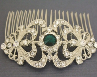 wedding hair piece blue bridal hair comb crystal hair accessories Wedding hair comb Vintage style Wedding comb Rhinestone Bridal comb Boho