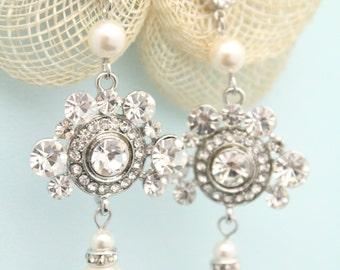 Bridal Earrings,Chandelier Earrings,Pearl Drop Wedding Earrings,Pearl Rhinestone Earrings,Vintage Style,Bridal Jewelry,Bridesmaid earrings