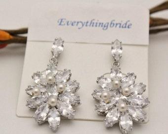 wedding earrings for brides pearl earrings dangle bridal earrings pearl crystal stud Bridesmaid jewelry set Crystal earrings Bridal jewelry