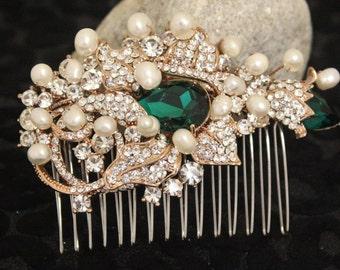 Bridal hair accessories blue Wedding comb rose gold Bridal hair piece pearl Wedding hair comb Rhinestone Bridal hair comb Green Bridesmaid
