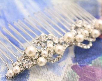 Bridal Hair Comb,Bridal Rhinestone Hair Comb,Bridal Flower Hair Comb,Wedding Back Comb,Silver Hair Vine,Boho hair comb,Bohemian hair piece