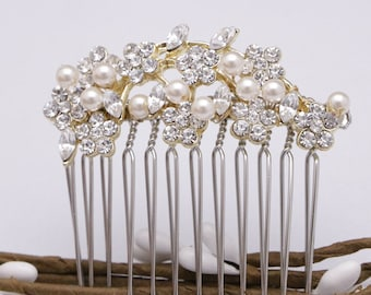 bridal hair comb floral wedding hair comb and veil wedding comb for hair Small Wedding hair piece Swarovski pearl hair comb Vintage style