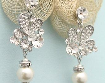 Bridal earrings,Wedding earrings,Wedding jewelry for bridesmaid earrings,Pearl earrings,Crystal earrings,Rhinestone earrings,Boho Bridal