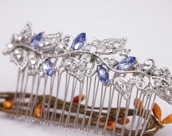wedding hair comb silver Wedding head comb Blue Bridal hair comb Navy Bridal comb Crystal hair comb Wedding hair piece Bridal headpiece Boho