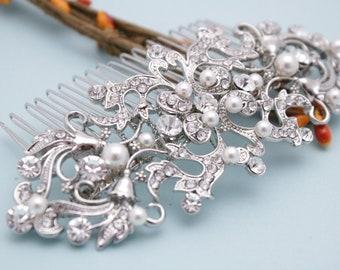 wedding comb for hair wedding hair comb side wedding hair clip boho bridal hair comb silver bridal hair accessories floral bridal hair pins
