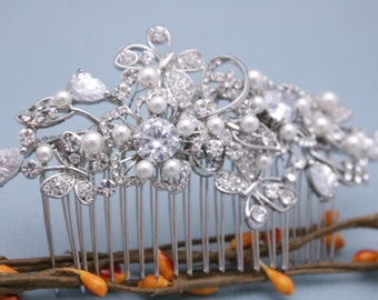 wedding hair comb silver wedding comb floral wedding hair accessories vintage style Wedding headpiece Bridal hair comb Pearl hair piece Boho