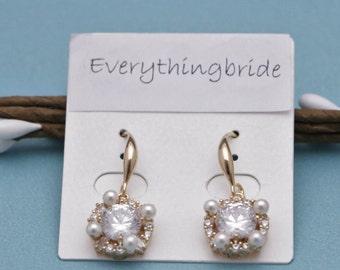 Cubic Zirconia Wedding Earrings Bridal Earrings Bridesmaid Earrings Bridal Jewelry Statement Wedding Earrings,Cubic Zirconia Bridal Earrings