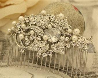 bridal headpiece silver wedding hair accessories pearl hair comb Rhinestone hair pins Wedding hair comb Vintage style Bridal hair comb Prom