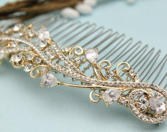 wedding hair comb rose gold Wedding hair piece Gold Wedding comb Rhinestone hair pins Bridal hair comb Vintage style Bridal comb Prom hair
