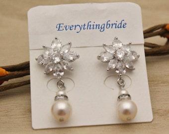 wedding earrings for bridesmaids bridal earrings drop simple pearl earrings drop crystal earring dangle bridesmaid earring Wedding jewelry