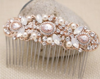 wedding hair comb pearl and crystal hair accessories Vintage style Bridal hair comb opal Wedding headpiece Rose gold Bridal hair piece Boho