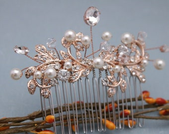 wedding hair comb vintage style Wedding hair accessories Silver,Gold,Rose gold Bridal hair comb Crystal hair piece Wedding comb,Hair clips