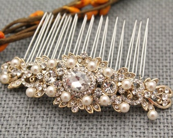 bridal comb, Wedding Hair Accessory with Pearls and Crystals,Wedding hair comb,Bridal hair piece,Wedding hair jewelry,Bridal comb Gold,Pearl