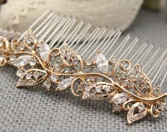 Bohemian Wedding hair accessories Gold hair comb Boho Bridal headpiece Rhinestone hair comb Wedding hair comb Prom hair comb Wedding comb