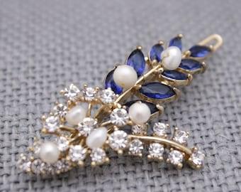 Wedding hair comb navy Wedding hair clip Pearl hair comb Bridal hair clip blue Wedding comb Crystal hair pins Bridal hair accessories Prom