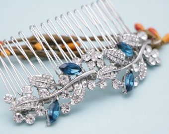 wedding hair accessories blue wedding hair comb floral Bridal hair piece Blue Wedding comb Rhinestone Bridal hair comb Wedding hair jewelry