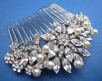 Wedding hair boho Bridal hair accessories art deco Bohemian bridal headpiece with veil Pearl hair comb Bridal hair clip Rhinestone hair comb