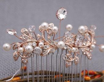 Boho hair comb Vintage Wedding Comb,Rose Gold Rhinestone Comb,Bridal Headpiece,Bridal Hair Comb,Wedding Hair Accessory,Hair Comb for Wedding